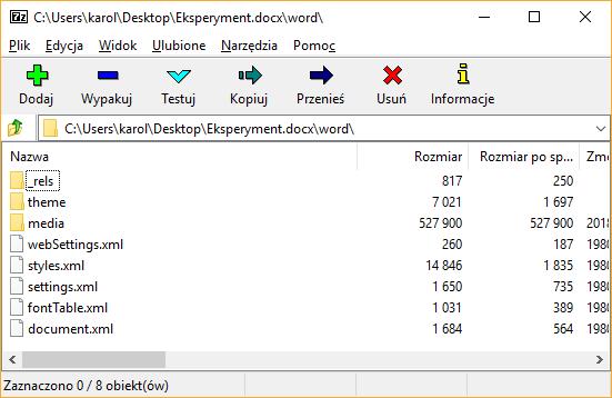 Tak powinno wyglądać archiwum po modyfikacji
