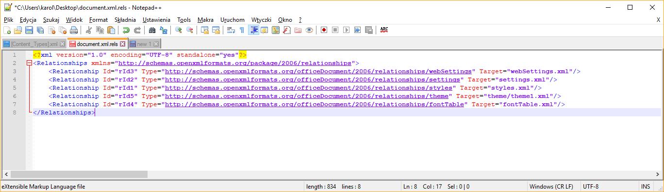Plik document.xml.rels przed modyfikacją