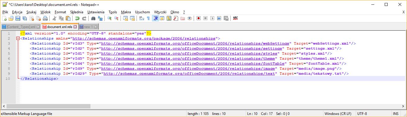 Plik document.xml.rels po modyfikacji