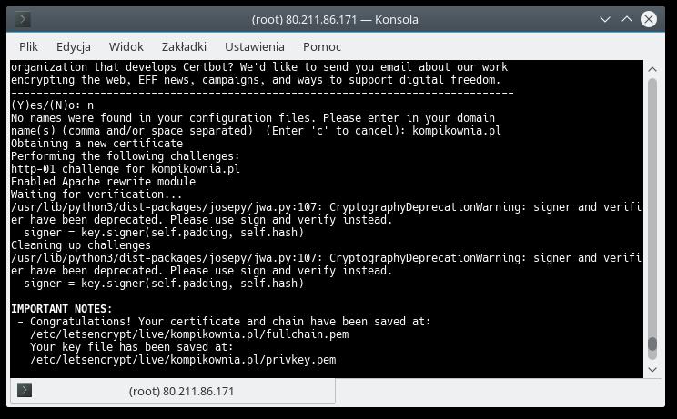 Podsumowanie instalacji Certbot