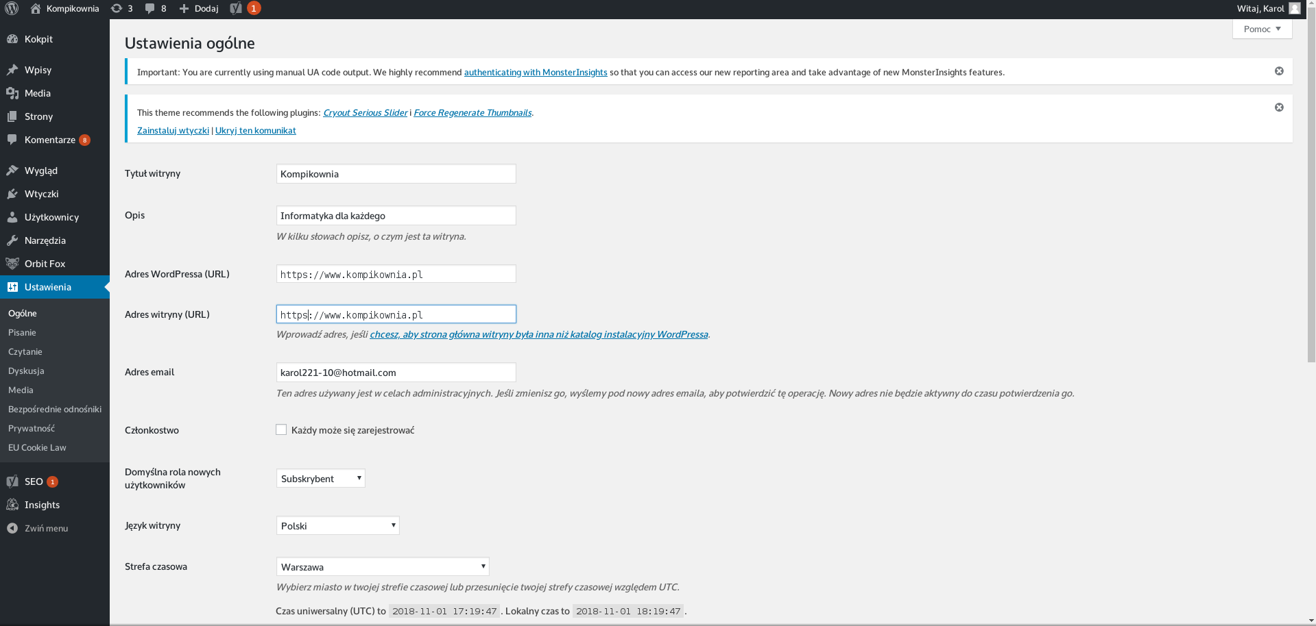 Konfiguracja wordpress https