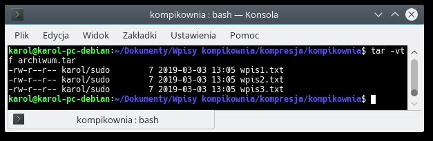Wynik działania polecenia tar -vtf archiwum.tar
